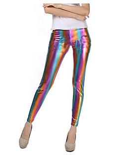 cheap -Women's PU Legging - Rainbow Mid Waist