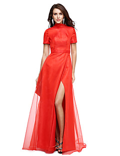 cheap Celebrity Dresses-A-Line High Neck Floor Length Organza Formal Evening Dress with Split Front by TS Couture®