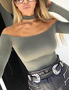 Women's Off The Shoulder|Choker Daily Sexy Regular CardiganSolid Black Off Shoulder Long Sleeve Spandex Winter Medium Micro-elastic