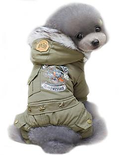 billiga Hundkläder-Hund Kappor Huvtröjor Hundkläder Polis/Militär Jägergrön Khaki grön Cotton Kostym För husdjur Herr Dam Cosplay Vindtät Håller värmen Mode