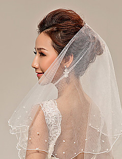Two-tier Pearl Trim Edge Wedding Veil Fingertip Veils With Pearls Tulle