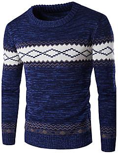 tanie Męskie swetry i swetry rozpinane-Męskie Weekend Okrągły dekolt Pulower Kolorowy blok Długi rękaw
