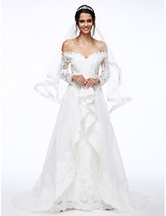 A Line Off The Shoulder Sweep Brush Train Lace Organza Wedding Dress With Beading Appliques Flower By LAN TING BRIDER