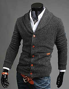 Men's Daily Going out Casual Regular Cardigan,Solid Long Sleeves Cotton Winter Fall Medium Stretchy