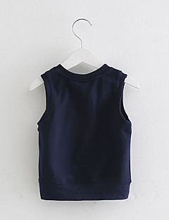 cheap Kids' Clothing-Boys' Daily Patchwork Vest, Cotton Spring Fall Sleeveless Cartoon Dark Blue Gray