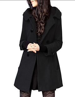 preiswerte Damenmäntel und Trenchcoats-Damen Alltag Herbst / Winter Lang Trench Coat, Solide V-Ausschnitt Langarm Wolle / Polyester Schwarz / Grau XXL / XXXL / 4XL / Fledermaus Ärmel