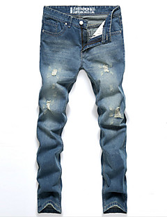 billige Herrebukser og -shorts-Herre Bomull Jeans Bukser Ensfarget