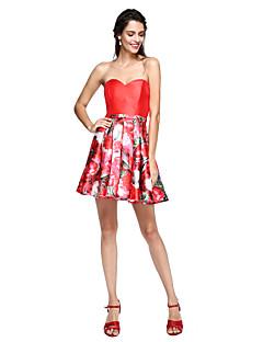 billige Mønstrede og ensfargede kjoler-Ballkjole Kjære Kort / mini Mikado Cocktailfest / Skoleball Kjole med Belte / bånd av TS Couture®