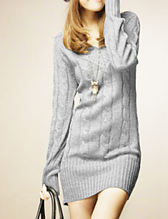 Women's Fashional V Neck Long Sleeve Slim Knitwear Dress  Soft Comfortable Breathable warm