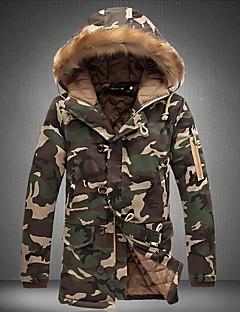 Men's Long Padded Coat,Casual Daily Camouflage-Cotton Polyester Long Sleeves Hooded