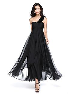 billiga Aftonklänningar-A-linje Enaxlad Ankellång Chiffong Formell kväll Klänning med Plisserat Blomma Veckad av TS Couture®