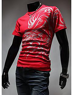 Herren Druck Einfach Lässig/Alltäglich T-shirt,Gurt Kurzarm Baumwolle