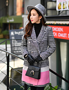 DABUWAWA Women's Going out / Casual/Daily / Holiday Cute / Street chic / Sophisticated Coat,Check Shirt Collar Long Sleeve Fall / Winter