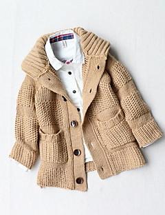 billige Sweaters og cardigans til drenge-Drenge Trøje og cardigan Daglig Ensfarvet, Bomuld Akryl Vinter Efterår Langærmet Grå Navyblå Kamel