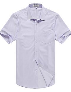 Bomull / Rayon / Polyester Blå / Lilla Medium Kortermet,Skjortekrage Skjorte Stripet / Jacquard Sommer EnkelFritid/hverdag / Formelle /