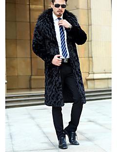 baratos Roupa de Moda de Homem-Masculino Casaco Casual Simples Inverno,Sólido Preto Pêlo Sintético Colarinho de Camisa-Manga Longa Média