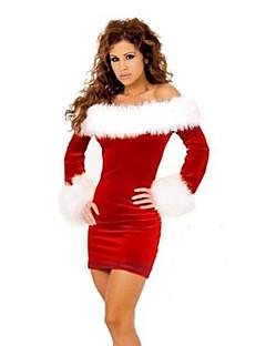billige julen Kostymer-Nisse drakter Mrs.Claus Cosplay Kostumer Kvinnelig Jul Festival / høytid Halloween-kostymer Rød Lapper