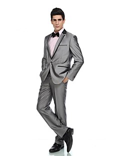 cheap Tuxedos-Tuxedos Tailored Fit Standard Fit Collar Notch Peak One-Button Single Breasted One-button Cotton Wool Blend Wool & Polyester Blend