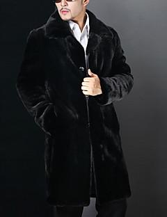 男性 カジュアル/普段着 / ホリデー / プラスサイズ 冬 ソリッド ファーコート,ヴィンテージ / シンプル / ストリートファッション ノッチドラペル ブラック フェイクファー 長袖 厚手