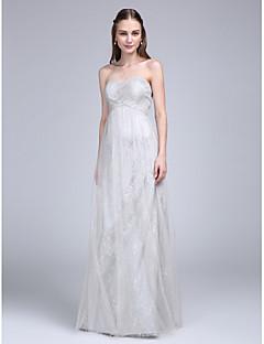 מעטפת \ עמוד לב (סוויטהארט) עד הריצפה תחרה טול שמלה לשושבינה  עם בד בהצלבה סלסולים על ידי LAN TING BRIDE®