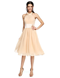 cheap Going Neutral-A-Line High Neck Knee Length Chiffon Bridesmaid Dress with Sash / Ribbon Pleats Flower by LAN TING BRIDE®