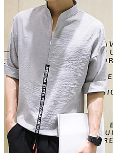 Men's Casual/Daily Simple Spring Fall Shirt,Solid Stand Long Sleeves Linen Medium