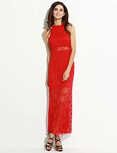 여성 칼집 드레스 캐쥬얼/데일리 패치 워크,홀터 넥 맥시 민소매 면 가을 높은 밑위 약간의 신축성