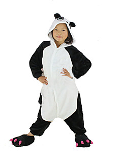 billige julen Kostymer-Barne Kigurumi-pysjamas Panda Onesie-pysjamas Kostume Polar Fleece Svart Cosplay Til Pysjamas med dyremotiv Tegnefilm Halloween Festival / høytid / Jul