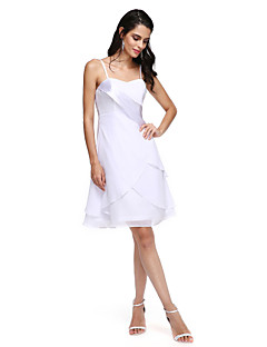 cheap Wedding Guest Dresses-A-Line Spaghetti Straps Knee Length Chiffon Cocktail Party Dress with Pleats by TS Couture®