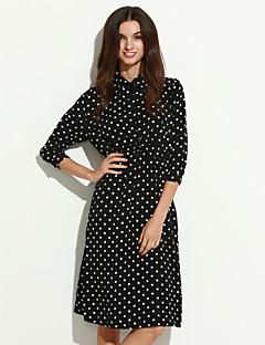 여성의 칼집 드레스 캐쥬얼/데일리 스트리트 쉬크 도트무늬,셔츠 카라 미디 ¾ 소매 화이트 / 블랙 면 가을
