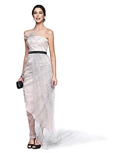 billiga Kändisklänningar-A-linje Axelbandslös Ankellång Spets Satäng Paljetter Cocktailfest / Bal Klänning med Pickup-kjol Sidodraperad av TS Couture®