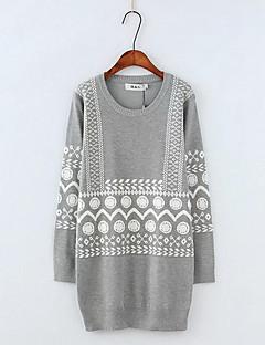 Dames Uitgaan Eenvoudig Normaal Pullover Print-Grijs Ronde hals Lange mouw Polyester Herfst Medium Micro-elastisch