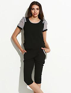 abordables -Chemisier Costumes Femme,Blocs de Couleur Travail simple Sangle Manche Courtes Col Arrondi Polyester Micro-élastique