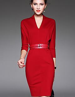Damen Bodycon Kleid-Lässig/Alltäglich Einfach Solide V-Ausschnitt Übers Knie ¾-Arm Rot / Schwarz Nylon Herbst Mittlere Hüfthöhe