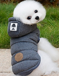 Dog Coat Hoodie Vest Dog Clothes Keep Warm Fashion Solid Gray Blue