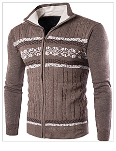 Men's Daily Casual Regular Pullover,Color Block Stand Long Sleeves Wool Winter Fall Medium Micro-elastic