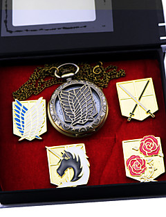 Klokker / Emblem Inspirert av Attack on Titan Eren Jager Anime Cosplay Tilbehør Emblem / Klokker Gull Legering