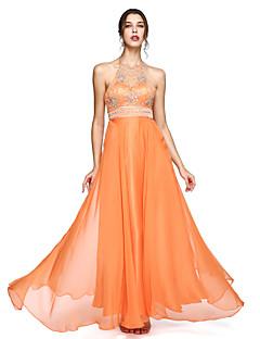 Linia -A Halter Lungime Podea Șifon Bal Seară Formală Rochie cu Mărgele de TS Couture®