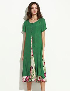 Χαμηλού Κόστους Chinoiserie Dresses-Γυναικεία Κινεζικό στυλ Φαρδιά Φόρεμα - Φλοράλ Μίντι