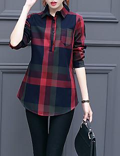 Feminino Camisa Social Casual Simples Outono / Inverno,Estampado Vermelho / Laranja Algodão Colarinho de Camisa Manga Longa Grossa