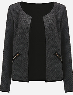 Women's Going out / Casual/Daily Punk & Gothic / Sophisticated Trench Coat,Solid Notch Lapel Long Sleeve Fall / Winter Red / Brown / Gray