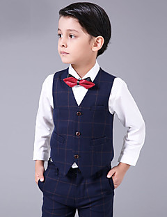 cheap Ring Bearer Suits-Brown Blue/White White+Red Cotton Ring Bearer Suit - Four-piece Suit Includes  Vest Shirt Pants Bow Tie