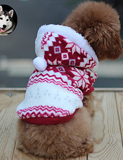 Cat Dog Coat Hoodie Dog Clothes Breathable Keep Warm Fashion Snowflake Brown Red Blue Costume For Pets