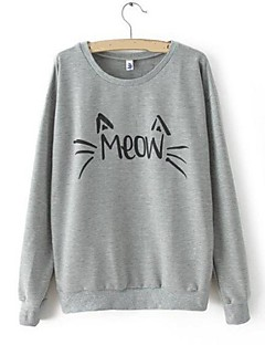 Women's Letter Black / Gray Hoodies , Casual Round Neck Long Sleeve