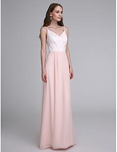 billige Romantisk rosa-Tube / kolonne Spagettistropper Gulvlang Chiffon Brudepikekjole med Blonder av LAN TING BRIDE®