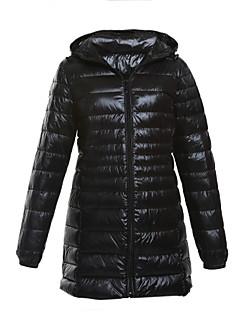 Damen Daunen Mantel,Lang Einfach Lässig/Alltäglich / Übergröße Solide-Polyester Weiße Entendaunen Langarm Blau / Rot / Schwarz