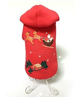 犬用品 パーカー 犬用ウェア 冬 アニマル キュート ファッション 保温 クリスマス レッド