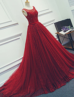 Ball Gown Illusion Neckline Court Train Tulle Formal Evening Dress with Beading Sash / Ribbon by DRRS