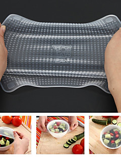 baratos Acessórios de Drinkware-Envoltórios frescos do alimento do silicone 4pcs mantêm a tampa reusável fresca do selo