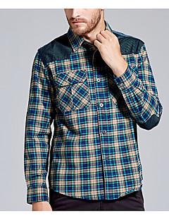Bomull Medium Langermet,Skjortekrage Skjorte Rutet Høst Enkel Fritid/hverdag Herre